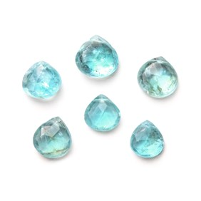 Apatite Heart Shape Faceted Briolette Beads, Approx From 5mm