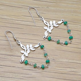 Emerald Leaf Chandelier Earrings