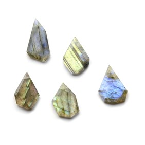 Labradorite Head Drilled Faceted Slice Bead, Approx 14x10mm