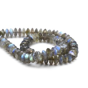 Labradorite German Cut Faceted Rondelle Beads, Approx 9x4mm