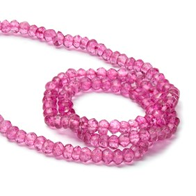Pink Quartz Faceted Rondelle Beads, Approx 3mm