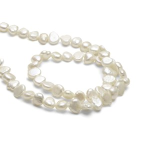 Cultured Freshwater Semi-Baroque White Pearls, Approx 4-6mm