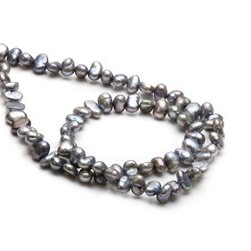 Cultured Freshwater Metallic Silver Peacock Semi-Baroque Pearls, Approx 3-6mm