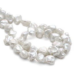 White Keshi Pearl Beads, Approx 9-14mm