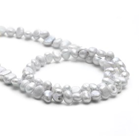 Cultured Freshwater Silver Semi-Baroque Pearls, Approx 3-6mm