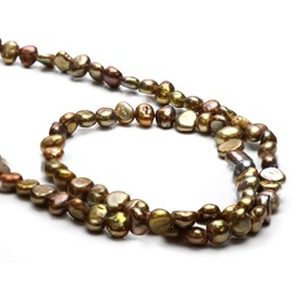 Cultured Freshwater Bronze Semi-Baroque Pearls, Approx 3-5.5mm