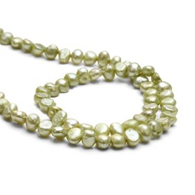 Cultured Freshwater Pistachio Green Semi-Baroque Pearls, Approx 3-5.5mm