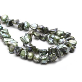 Cultured Freshwater Forest Green Keshi Pearls, Approx 8-15mm