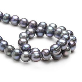 Cultured Freshwater Semi-Round Large Hole Peacock Pearls, Approx 10mm
