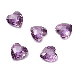 Top Drilled Faceted Purple Coloured Cubic Zirconia Hearts
