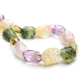 Multi Quartz Faceted Nugget Beads, Approx 16x10mm to 20x30mm