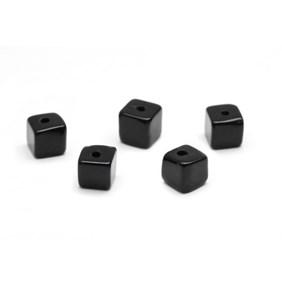 Black Onyx Half Drilled Cube Beads, 4mm