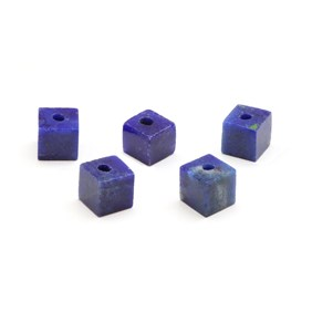 Lapis Lazuli Half Drilled Cube Beads, 4mm