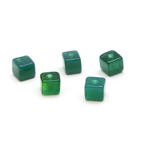 Green Agate Half Drilled Cube Beads, 4mm