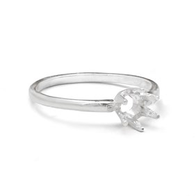 Sterling Silver Pre-Notched Ring For One 5mm Round Faceted Stone