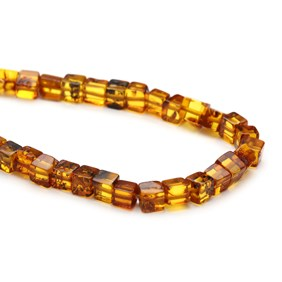 Amber Cube Beads, Approx 4-6mm