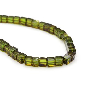 Green Amber Cube Beads, Approx 4-5mm