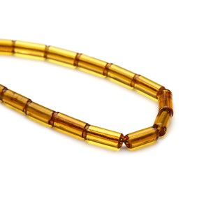 Amber Cylinder Beads, Approx 16x6mm