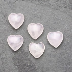 Rose Quartz Top Drilled Gemstone Hearts, 10mm