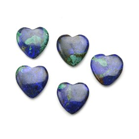 Azurite Top Drilled Gemstone Hearts, 12mm