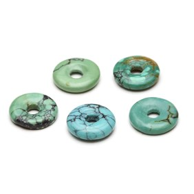 Chinese Turquoise Gemstone Donuts, Approx 10mm