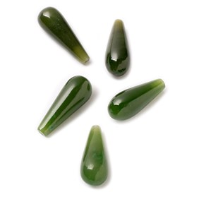 Nephrite Jade Top Drilled Teardrop Gemstone Bead, Approx 16x6mm