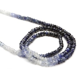 Sapphire Ombre Faceted Rondelle Beads, Approx 3x2mm