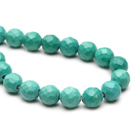 Magnesite Sea Green Faceted Large Hole Beads, Approx 10mm
