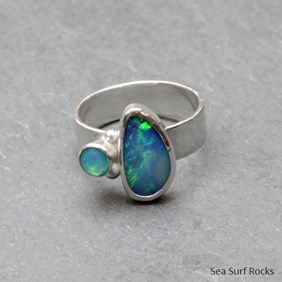 Australian Boulder opal ring supplied by Kernowcraft UK