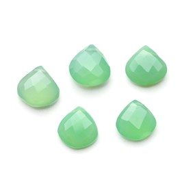 Chrysoprase Faceted Heart Briolette Beads, Approx 10x10mm