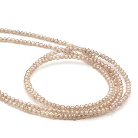 Champagne Zircon Faceted Round Beads, Approx 2.2mm