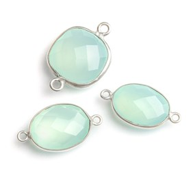 Sterling Silver Bezel Set Faceted Aqua Blue Chalcedony Link Connector, 17x13mm Oval