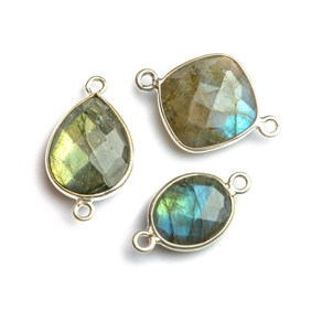 Sterling Silver Bezel Set Faceted Labradorite Link Connector