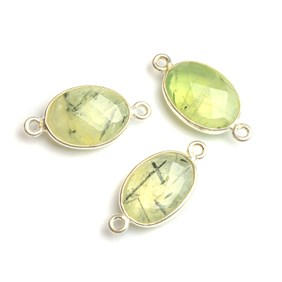 Sterling Silver Bezel Set Faceted Prehnite Link Connector, 17x13mm Oval