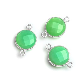 Sterling Silver Bezel Set Faceted Chrysoprase Link Connector, 11mm Round