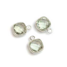 Sterling Silver Bezel Set Faceted Green Amethyst Pendant Connector, 11mm Square
