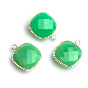 Sterling Silver Bezel Set Faceted Chrysoprase Pendant Connector, 15mm Square