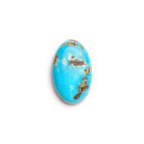 Untreated Natural Persian Turquoise Oval Cabochon, Approx 15.5x9.5mm