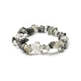 Black Tourmalinated Quartz Chip Bead Bracelet