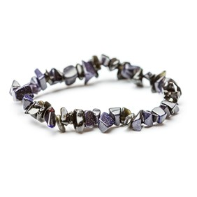 Blue Goldstone Chip Bead Bracelet