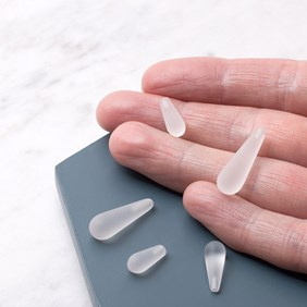 Frosted Crystal Quartz Top Drilled Teardrop Gemstone Bead, 22x7mm