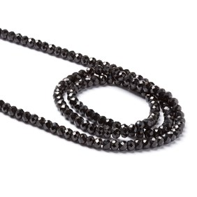 Black Spinel Faceted Rondelle Beads, Approx 3x2mm