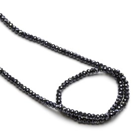 Midnight Blue Spinal Faceted Rondelle Beads, 3x2mm