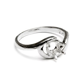 Sterling Silver Pre-Notched Twist Ring for One 6mm Round Faceted Stone