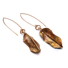 Copper Autumnal Leaf Earrings