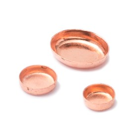 Copper Plain Edge Bezel Cups For Cabochon Stones, Approx 10x8mm