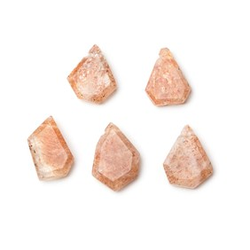 Sunstone Faceted Head Drilled Slice Beads, Approx 9-13mm