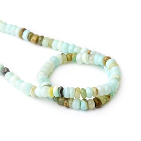 Peruvian Opal Faceted Rondelle Beads, Approx 5x4mm