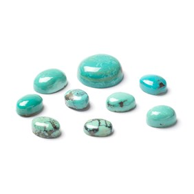 Tibetan Spiderweb Turquoise Cabochons, 10x8mm Oval