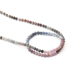 Shaded Pink And Blue Sapphire Rondelle Beads